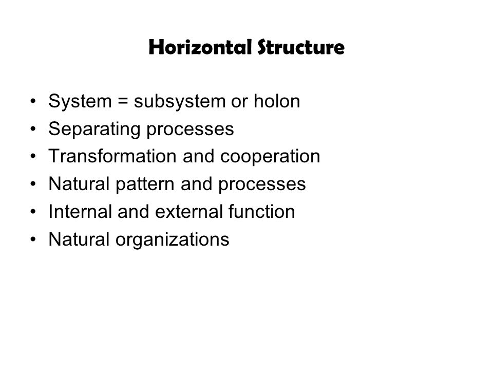 Horizontal Structure System = subsystem or holon Separating processes Transformation and cooperation Natural pattern and processes Internal and extern