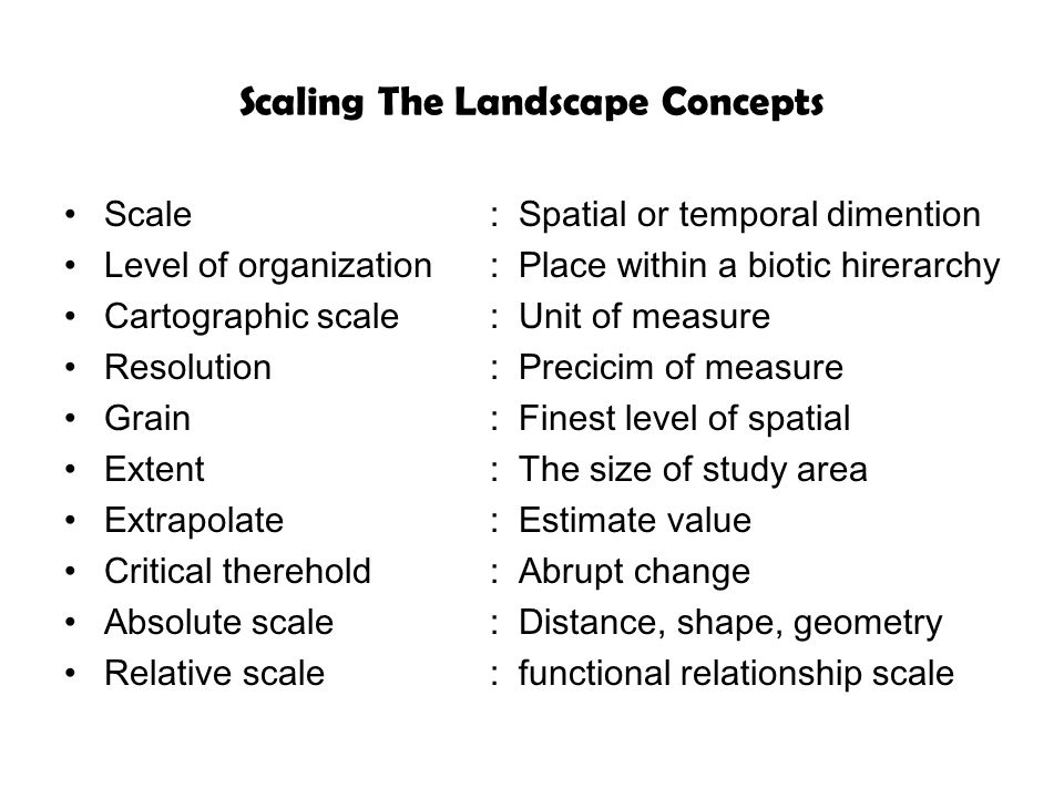 Scaling The Landscape Concepts Scale : Spatial or temporal dimention Level of organization: Place within a biotic hirerarchy Cartographic scale: Unit