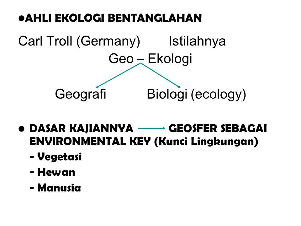 AHLI EKOLOGI BENTANGLAHAN Carl Troll (Germany)Istilahnya Geo – Ekologi Geografi Biologi (ecology) DASAR KAJIANNYA GEOSFER SEBAGAI ENVIRONMENTAL KEY (K