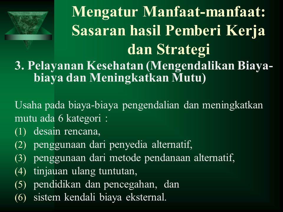 Mengatur Manfaat-manfaat: Sasaran hasil Pemberi Kerja dan Strategi 3. Pelayanan Kesehatan (Mengendalikan Biaya- biaya dan Meningkatkan Mutu) Usaha pad