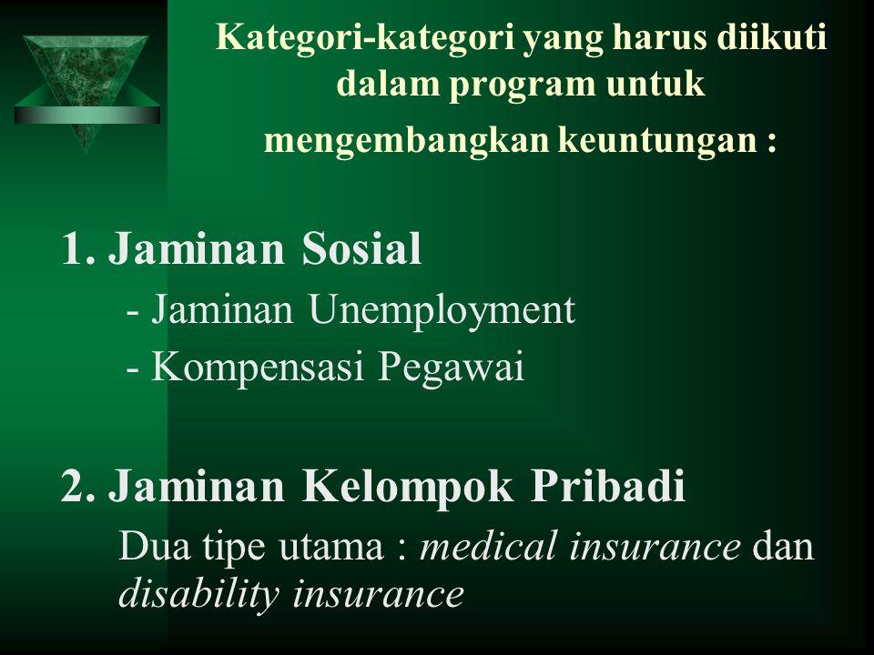 Kategori-kategori yang harus diikuti dalam program untuk mengembangkan keuntungan : 1. Jaminan Sosial - Jaminan Unemployment - Kompensasi Pegawai 2. J
