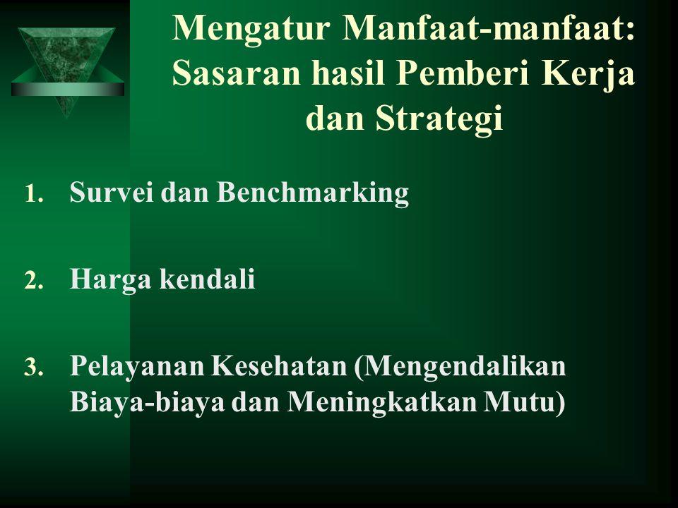 Mengatur Manfaat-manfaat: Sasaran hasil Pemberi Kerja dan Strategi 1. Survei dan Benchmarking 2. Harga kendali 3. Pelayanan Kesehatan (Mengendalikan B