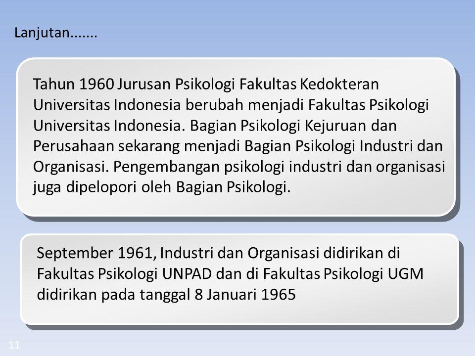Tahun 1960 Jurusan Psikologi Fakultas Kedokteran Universitas Indonesia berubah menjadi Fakultas Psikologi Universitas Indonesia. Bagian Psikologi Keju