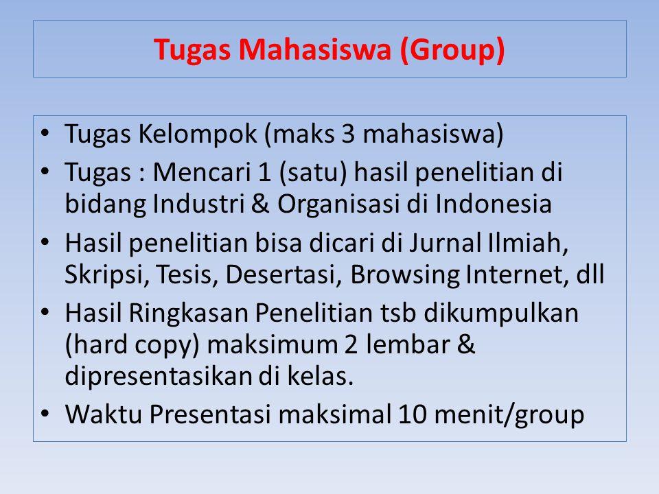 Tugas Kelompok (maks 3 mahasiswa) Tugas : Mencari 1 (satu) hasil penelitian di bidang Industri & Organisasi di Indonesia Hasil penelitian bisa dicari