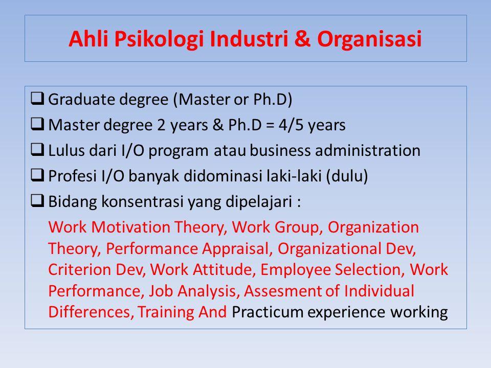  Graduate degree (Master or Ph.D)  Master degree 2 years & Ph.D = 4/5 years  Lulus dari I/O program atau business administration  Profesi I/O bany