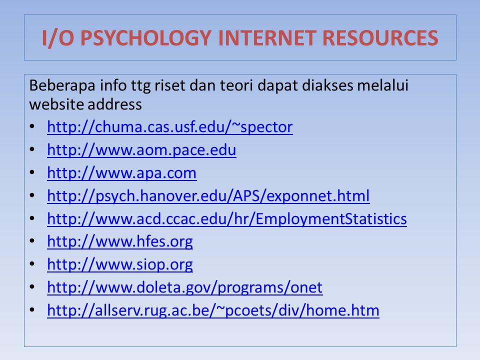 Beberapa info ttg riset dan teori dapat diakses melalui website address http://chuma.cas.usf.edu/~spector http://www.aom.pace.edu http://www.apa.com h