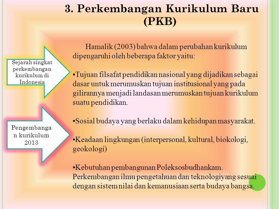 3. Perkembangan Kurikulum Baru (PKB) Pengembanga n kurikulum 2013 Sejarah singkat perkembangan kurikulum di Indonesia Hamalik (2003) bahwa dalam perub