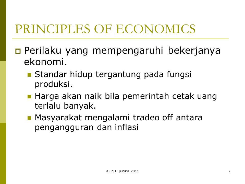 PRINCIPLES OF ECONOMICS  Perilaku yang mempengaruhi bekerjanya ekonomi. Standar hidup tergantung pada fungsi produksi. Harga akan naik bila pemerinta