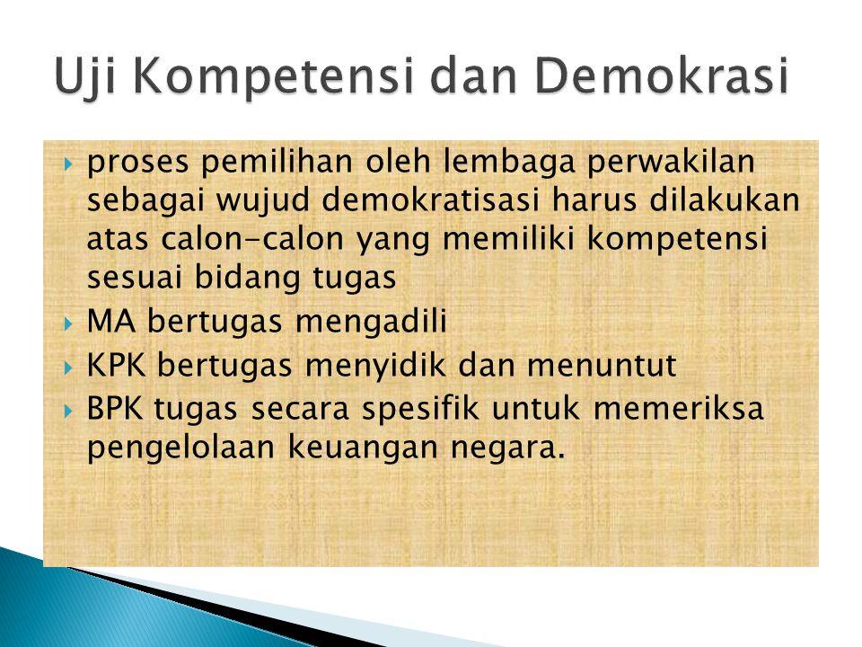  proses pemilihan oleh lembaga perwakilan sebagai wujud demokratisasi harus dilakukan atas calon-calon yang memiliki kompetensi sesuai bidang tugas 