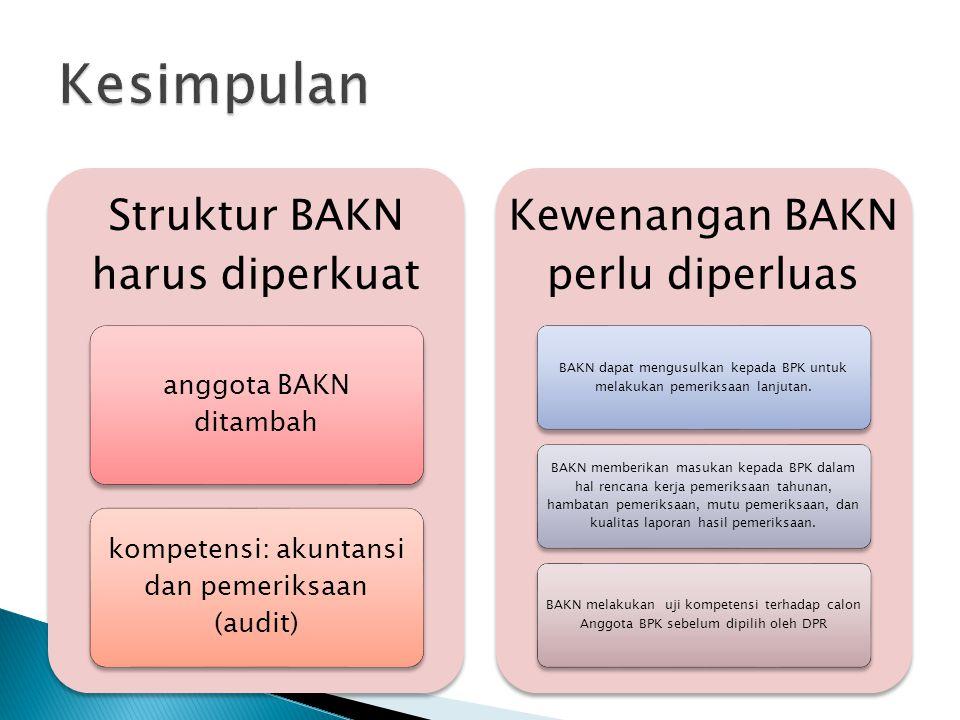 Struktur BAKN harus diperkuat anggota BAKN ditambah kompetensi: akuntansi dan pemeriksaan (audit) Kewenangan BAKN perlu diperluas BAKN dapat mengusulk