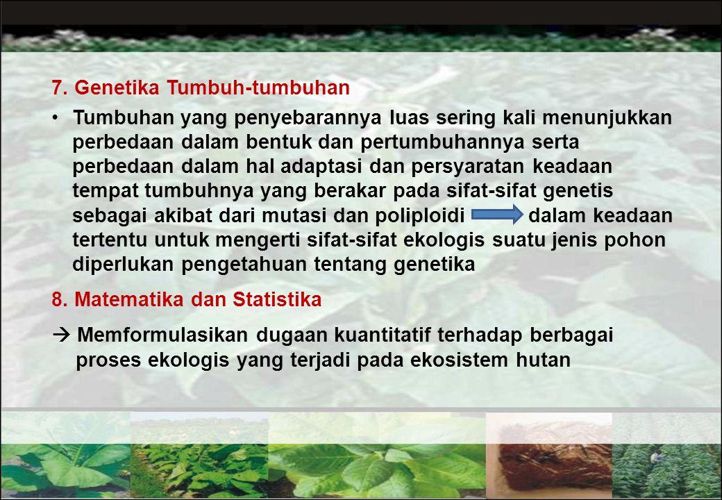 22 5. Geografi Tumbuh-tumbuhan (Phytogeografi) Ilmu ini membahas pengaruh faktor lingkungan terhadap penyebaran tumbuh-tumbuhan Ilmu ini berguna untuk