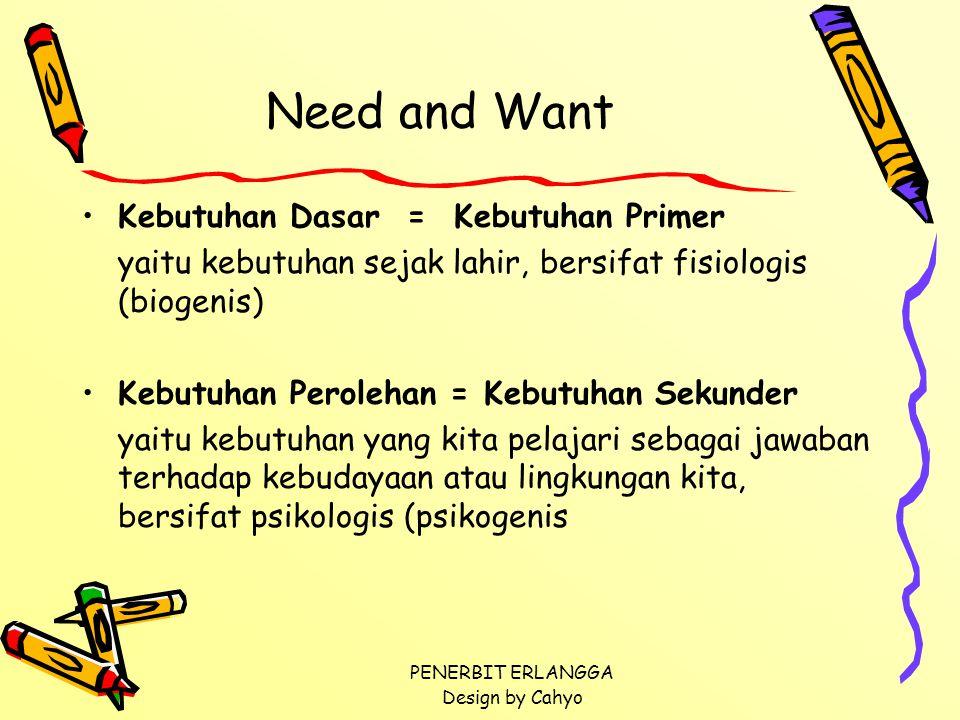 PENERBIT ERLANGGA Design by Cahyo Need and Want Kebutuhan Dasar = Kebutuhan Primer yaitu kebutuhan sejak lahir, bersifat fisiologis (biogenis) Kebutuh