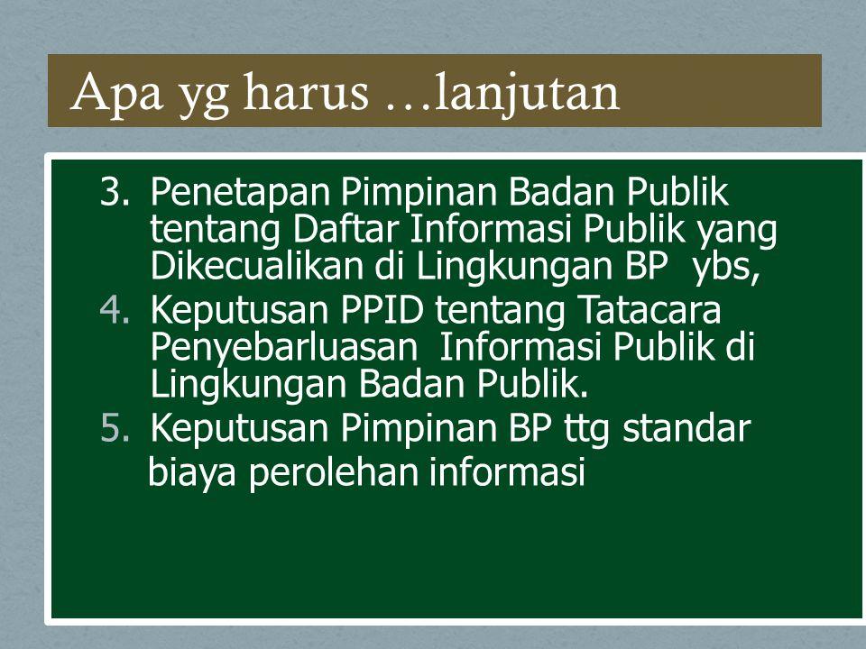 3.Penetapan Pimpinan Badan Publik tentang Daftar Informasi Publik yang Dikecualikan di Lingkungan BP ybs, 4.Keputusan PPID tentang Tatacara Penyebarlu