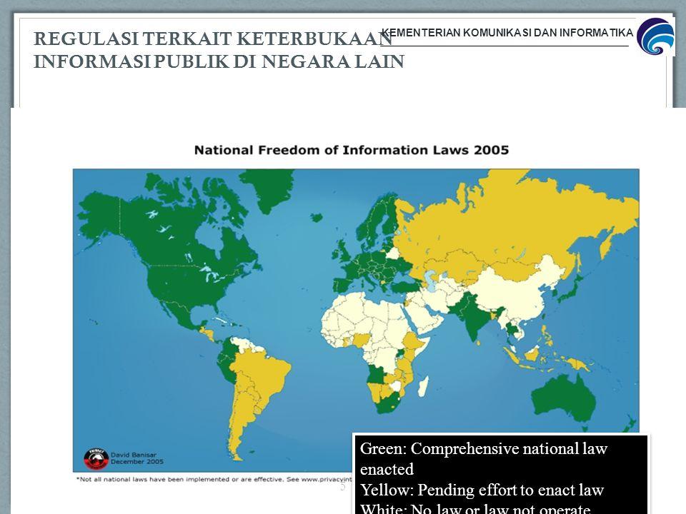 REGULASI TERKAIT KETERBUKAAN INFORMASI PUBLIK DI NEGARA LAIN Green: Comprehensive national law enacted Yellow: Pending effort to enact law White: No l
