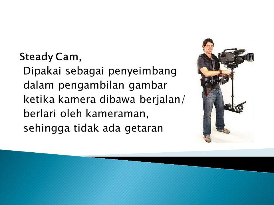 Steady Cam, Dipakai sebagai penyeimbang dalam pengambilan gambar ketika kamera dibawa berjalan/ berlari oleh kameraman, sehingga tidak ada getaran