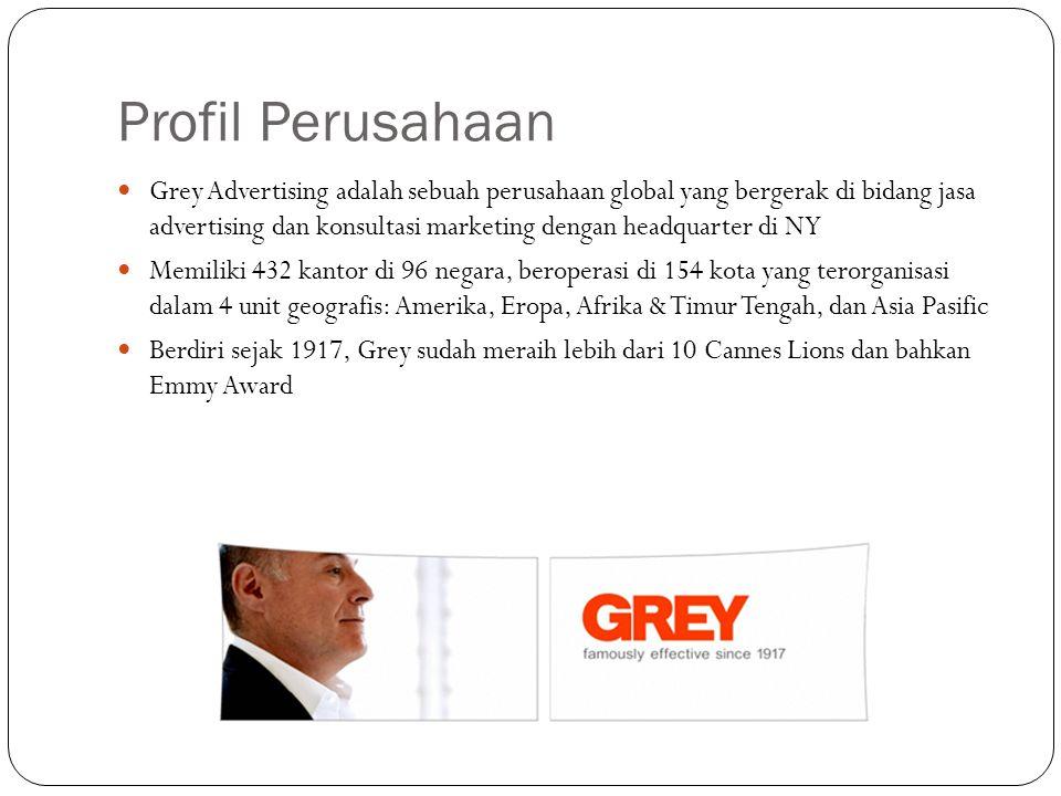 Profil Perusahaan Grey Advertising adalah sebuah perusahaan global yang bergerak di bidang jasa advertising dan konsultasi marketing dengan headquarter di NY Memiliki 432 kantor di 96 negara, beroperasi di 154 kota yang terorganisasi dalam 4 unit geografis: Amerika, Eropa, Afrika & Timur Tengah, dan Asia Pasific Berdiri sejak 1917, Grey sudah meraih lebih dari 10 Cannes Lions dan bahkan Emmy Award