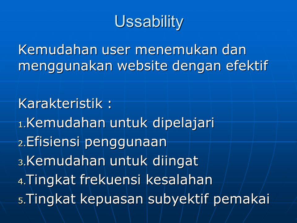 Criteria web site yang baik Ussability Ussability Content Content Struktur dan navigasi Struktur dan navigasi Design visual / graphic design Design visual / graphic design Kompatibilitas Kompatibilitas Waktu panggil (loading time) Waktu panggil (loading time) Fungsionality Fungsionality interaktifitas interaktifitas
