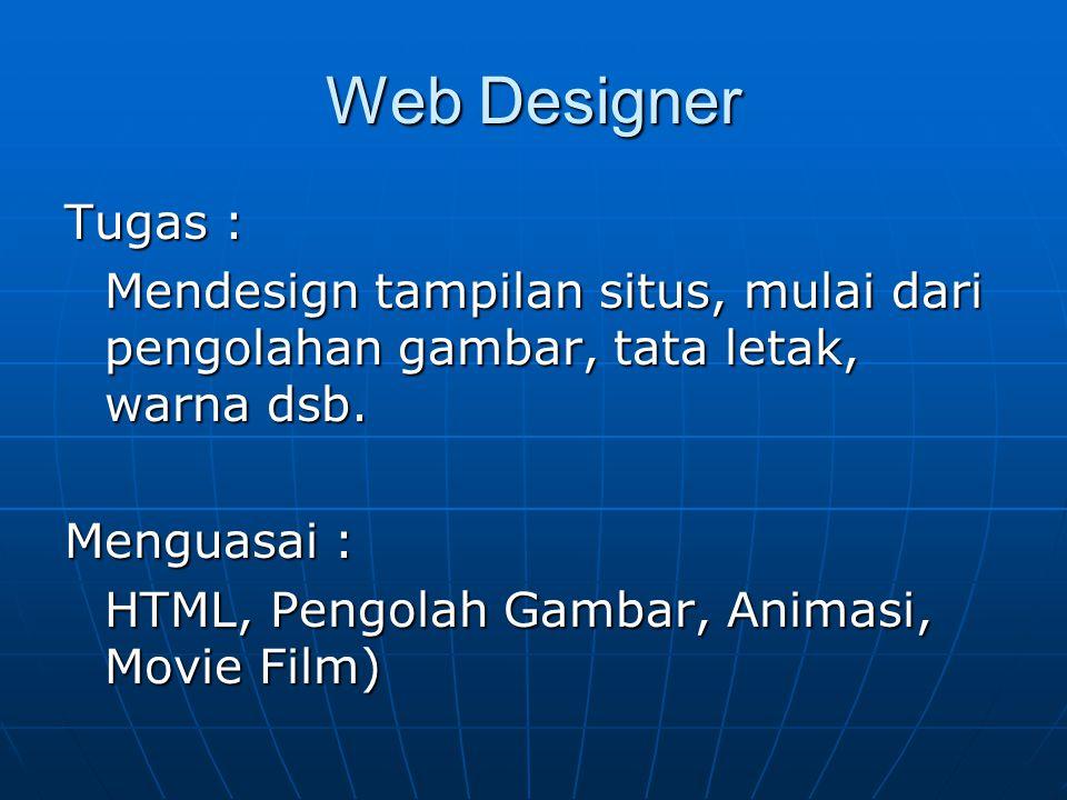 Profesi-profesi di bidang web Web Designer Web Designer Web Programmer Web Programmer Web Administrator Web Administrator Web Master Web Master Web Developer Web Developer