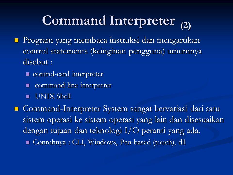 Command Interpreter (2) Program yang membaca instruksi dan mengartikan control statements (keinginan pengguna) umumnya disebut : Program yang membaca