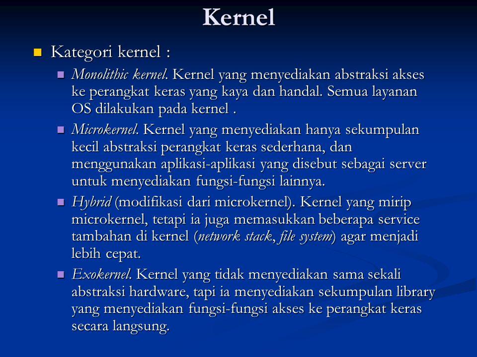 Kernel Kategori kernel : Kategori kernel : Monolithic kernel. Kernel yang menyediakan abstraksi akses ke perangkat keras yang kaya dan handal. Semua l