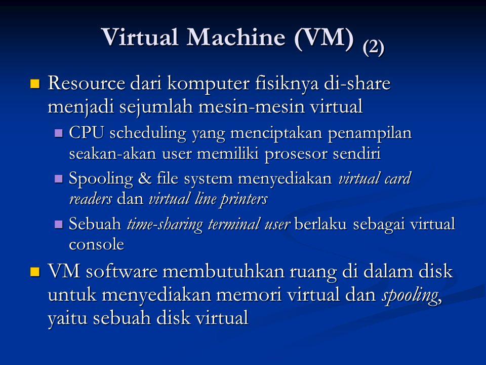 Virtual Machine (VM) (2) Resource dari komputer fisiknya di-share menjadi sejumlah mesin-mesin virtual Resource dari komputer fisiknya di-share menjad
