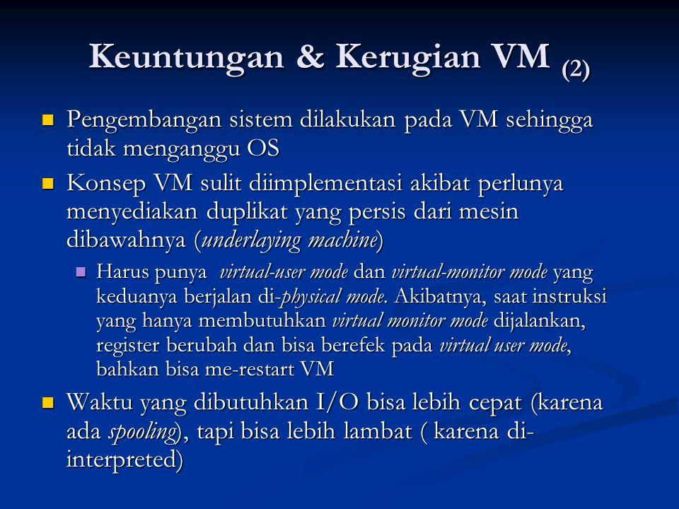 Keuntungan & Kerugian VM (2) Pengembangan sistem dilakukan pada VM sehingga tidak menganggu OS Pengembangan sistem dilakukan pada VM sehingga tidak me
