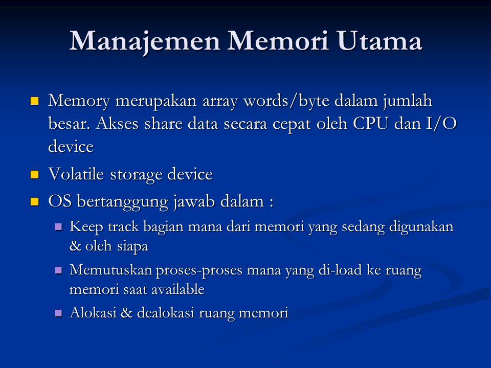 Manajemen Secondary-Storage Back up main memory, non-volatile Back up main memory, non-volatile Data dan program disimpan disimpan dalam secondary storage (penyimpanan sekunder; disk) Data dan program disimpan disimpan dalam secondary storage (penyimpanan sekunder; disk) OS bertanggung jawab dalam : OS bertanggung jawab dalam : Bagaimana mengelola ruang yang kosong dalam storage Bagaimana mengelola ruang yang kosong dalam storage Bagaimana mengalokasi storage Bagaimana mengalokasi storage Bagaimana melakukan scheduling penggunaan disk Bagaimana melakukan scheduling penggunaan disk