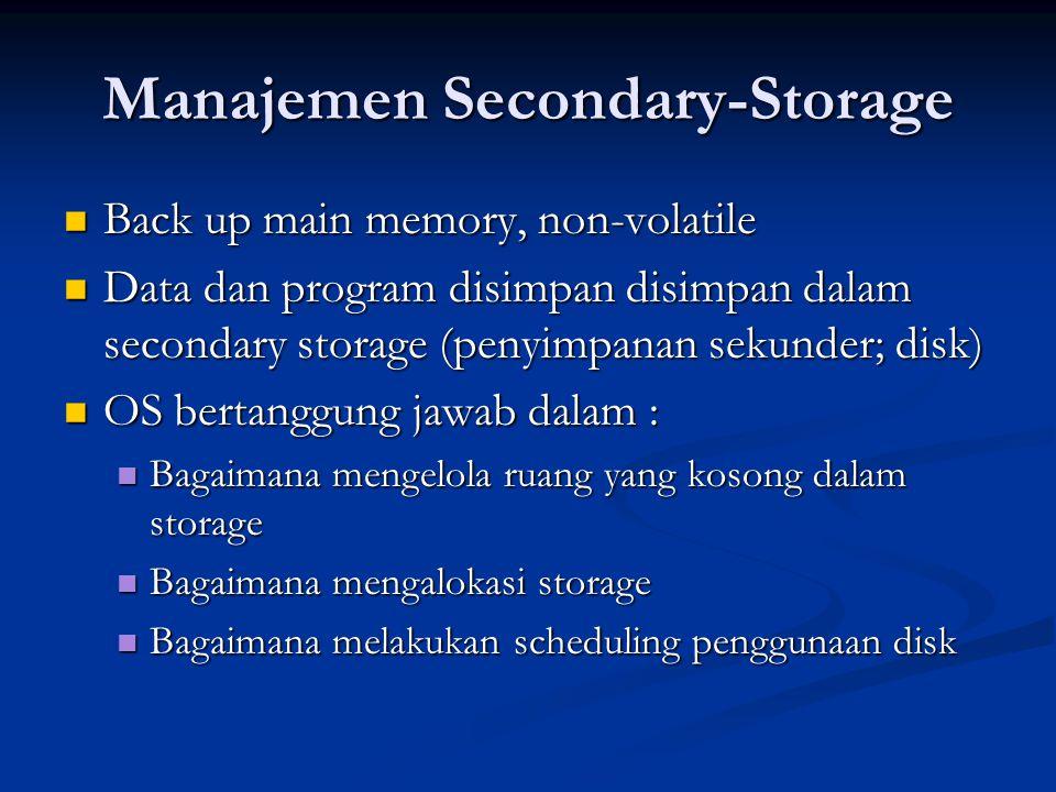 Manajemen I/O OS bertanggung jawab dalam : OS bertanggung jawab dalam : menyembunyikan kekhususan perangkat keras tertentu dari user menyembunyikan kekhususan perangkat keras tertentu dari user Melakukan optimalisasi dalam akses Melakukan optimalisasi dalam akses Buffer cache system : menampung sementara data dari/ke piranti I/O Buffer cache system : menampung sementara data dari/ke piranti I/O Spooling : melakukan penjadwalan pemakaian I/O sistem supaya lebih efisien (antrian, dsb) Spooling : melakukan penjadwalan pemakaian I/O sistem supaya lebih efisien (antrian, dsb) Interface device-driver : open, read, write, close Interface device-driver : open, read, write, close Drivers untuk spesifik perangkat keras : Drivers untuk spesifik perangkat keras : Menyediakan driver untuk melakukan operasi detail untuk perangkat keras tertentu Menyediakan driver untuk melakukan operasi detail untuk perangkat keras tertentu