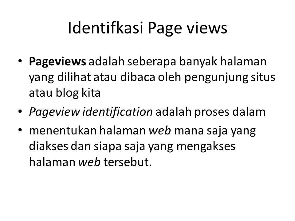 Identifkasi Page views Pageviews adalah seberapa banyak halaman yang dilihat atau dibaca oleh pengunjung situs atau blog kita Pageview identification adalah proses dalam menentukan halaman web mana saja yang diakses dan siapa saja yang mengakses halaman web tersebut.