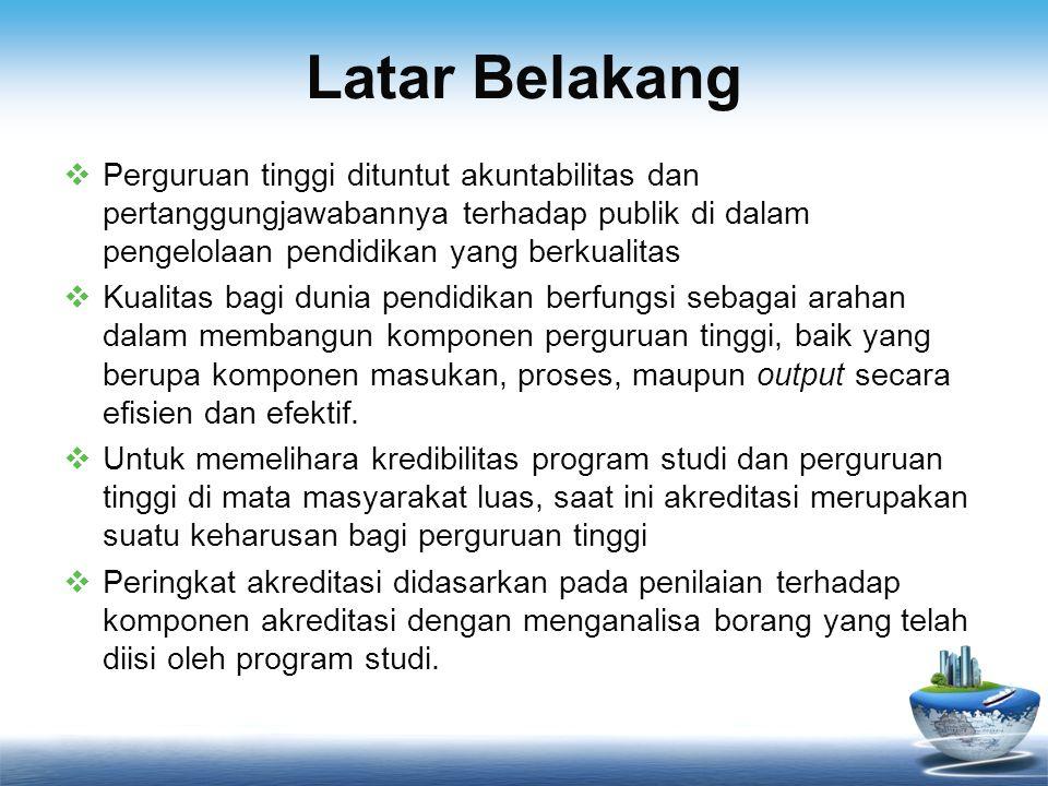 Latar Belakang  Hasil akreditasi dapat memberikan nilai jual atau nilai tambah kepada perguruan tinggi yang menyandang status akreditasi maksimal (A)  Berangkat dari saran Tri Handayani (1999) tentang peranan dokumen perguruan tinggi dalam menjaga mutu pendidikan  Pengelolaan rekod yang efektif dapat mendukung pengisian data borang yang dibutuhkan dan dapat memudahkan pencarian dokumen yang diperlukan  Dengan melihat latar belakang tersebut, peneliti tertarik untuk mengkaji bagaimana seharusnya program studi UIN Jakarta mendokumentasikan berbagai kegiatannya