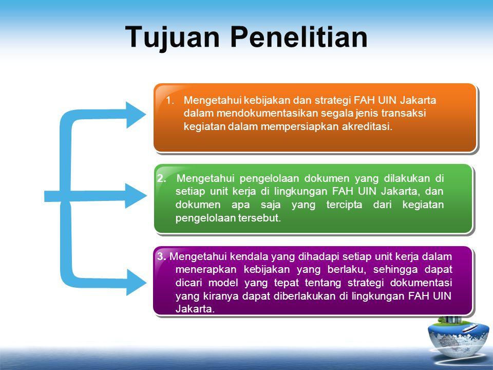 Tujuan Penelitian 1.Mengetahui kebijakan dan strategi FAH UIN Jakarta dalam mendokumentasikan segala jenis transaksi kegiatan dalam mempersiapkan akre