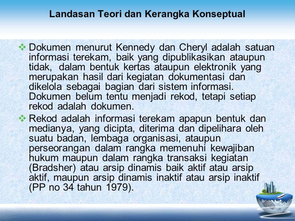 Landasan Teori dan Kerangka Konseptual  Dokumen menurut Kennedy dan Cheryl adalah satuan informasi terekam, baik yang dipublikasikan ataupun tidak, d