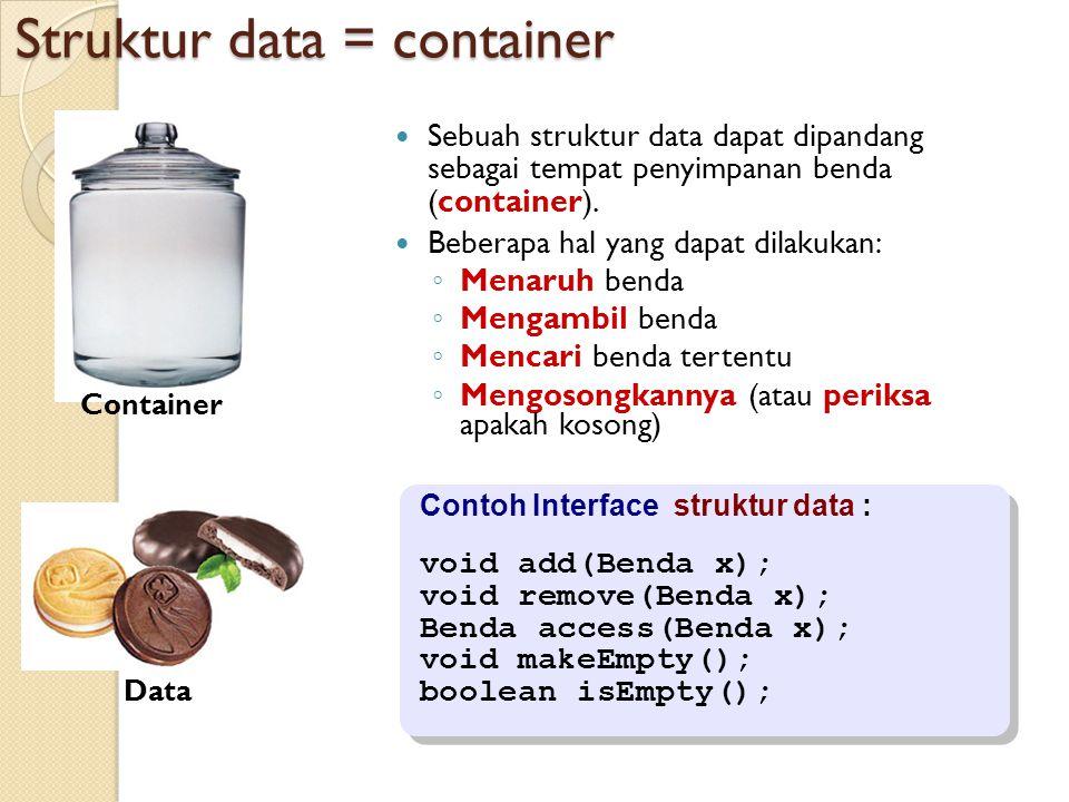Struktur data = container Sebuah struktur data dapat dipandang sebagai tempat penyimpanan benda (container).