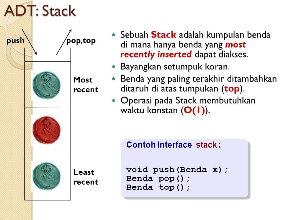 ADT: Stack Sebuah Stack adalah kumpulan benda di mana hanya benda yang most recently inserted dapat diakses.