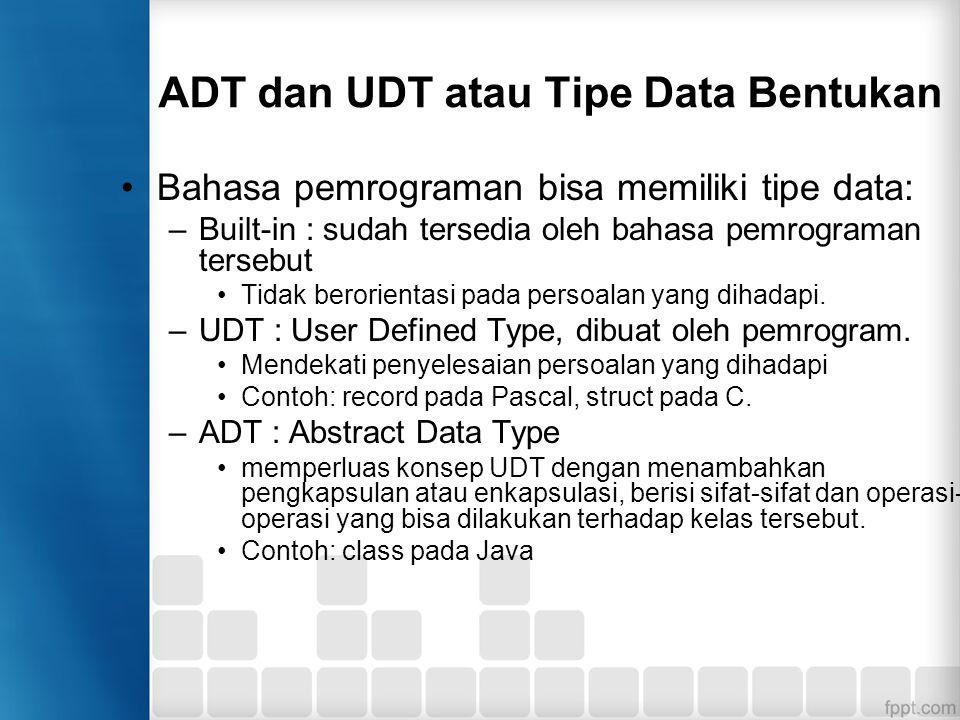 Abstract Data Type (ADT) Spesifikasi dari sekumpulan data termasuk operasi yang dapat dilakukan pada data tersebut.