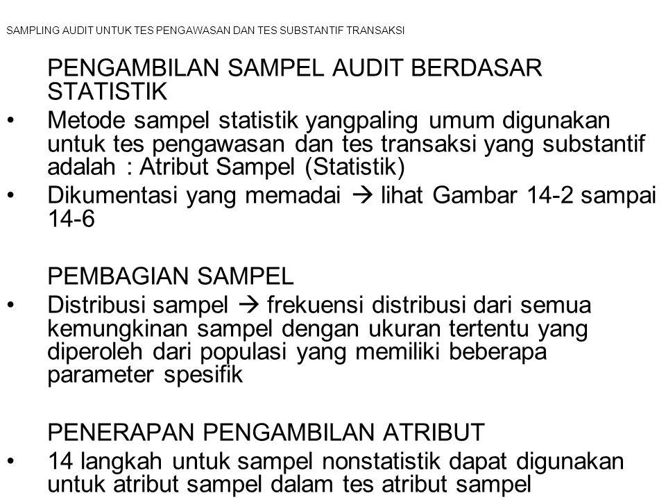 SAMPLING AUDIT UNTUK TES PENGAWASAN DAN TES SUBSTANTIF TRANSAKSI PENGAMBILAN SAMPEL AUDIT BERDASAR STATISTIK Metode sampel statistik yangpaling umum d