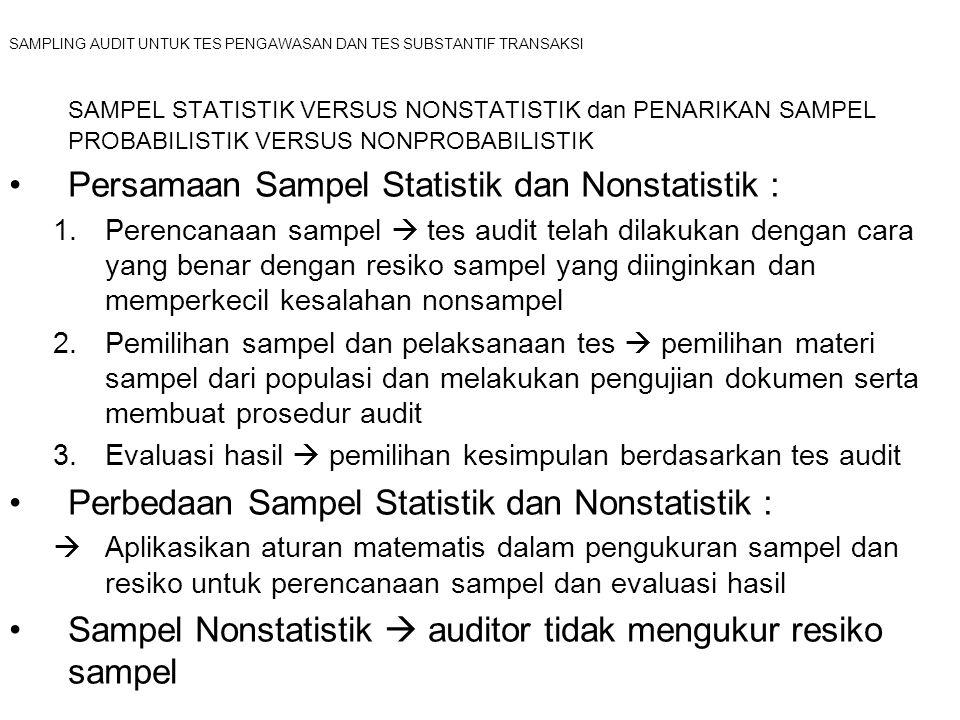 SAMPLING AUDIT UNTUK TES PENGAWASAN DAN TES SUBSTANTIF TRANSAKSI SAMPEL STATISTIK VERSUS NONSTATISTIK dan PENARIKAN SAMPEL PROBABILISTIK VERSUS NONPROBABILISTIK Pemilihan Sampel Probabilistik  metode pemilihan sampel dimana jumlah populasi setiap item diketahui probabilitas yangdisertakan dalam sampelnya dan sampel dipilih secara acak Empat jenis metode pemilihan sampel probabilistik (sampel audit statistik) : 1.Pemilihan sampel acak sederhana  pemilihan sampel dimana setiap kombinasi unsur populasi mempunyai kesempatan yang sama untuk dijasikan sampel 1.Tabel Nomor Random 2.Komputer Pengacak Angka 2.Pemilihan sampel sistematis  Auditor mengkalkulasi interval dan kemudian dengan metode tertentu melakukan pemilihan materi untuk sampel berdasarkan pada ukuran interval 3.