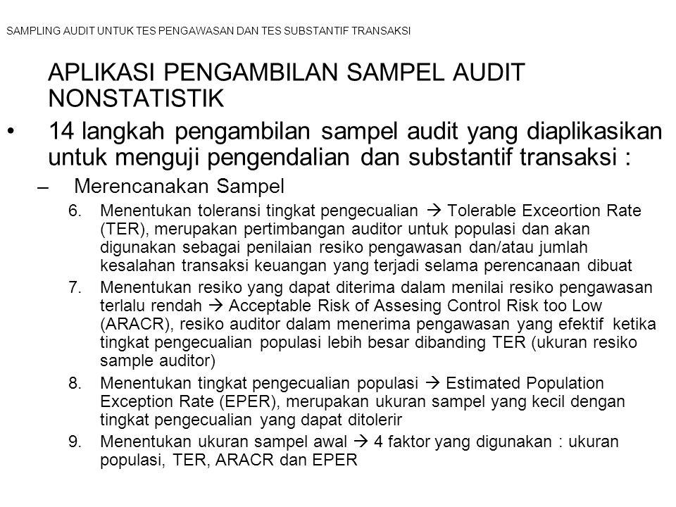 SAMPLING AUDIT UNTUK TES PENGAWASAN DAN TES SUBSTANTIF TRANSAKSI APLIKASI PENGAMBILAN SAMPEL AUDIT NONSTATISTIK 14 langkah pengambilan sampel audit ya