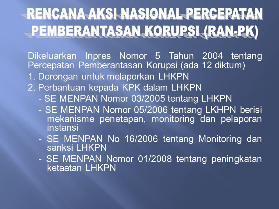 Dikeluarkan Inpres Nomor 5 Tahun 2004 tentang Percepatan Pemberantasan Korupsi (ada 12 diktum) 1. Dorongan untuk melaporkan LHKPN 2. Perbantuan kepada