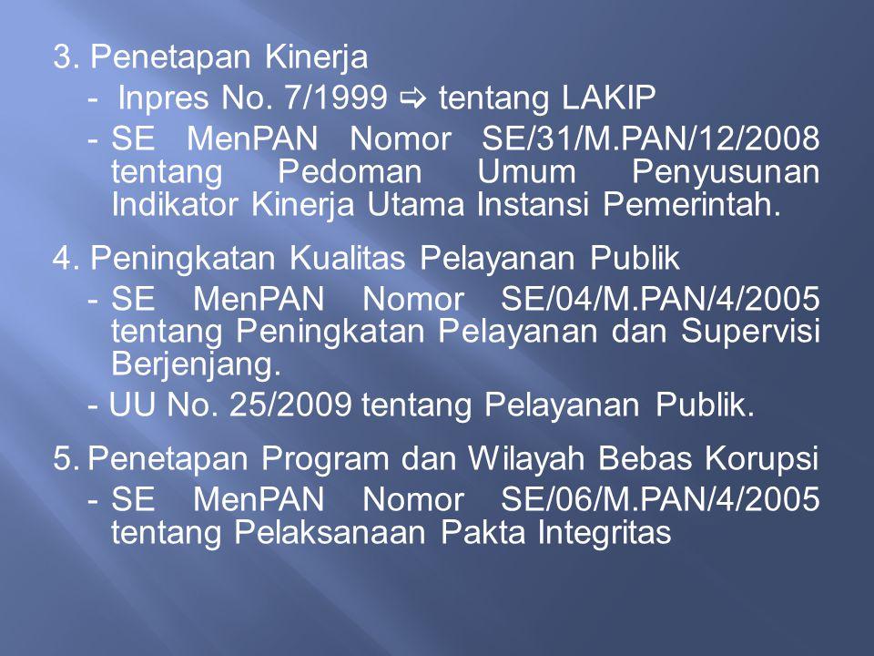 3. Penetapan Kinerja - Inpres No. 7/1999  tentang LAKIP -SE MenPAN Nomor SE/31/M.PAN/12/2008 tentang Pedoman Umum Penyusunan Indikator Kinerja Utama