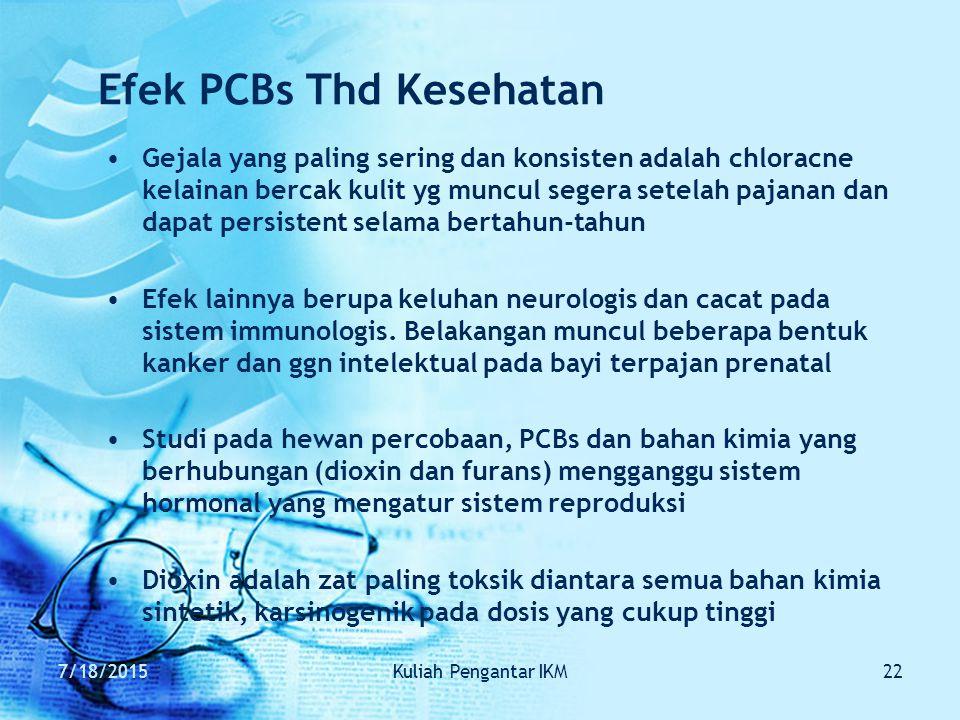 7/18/2015Kuliah Pengantar IKM22 Efek PCBs Thd Kesehatan Gejala yang paling sering dan konsisten adalah chloracne kelainan bercak kulit yg muncul seger