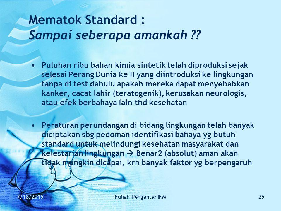 7/18/2015Kuliah Pengantar IKM25 Mematok Standard : Sampai seberapa amankah ?? Puluhan ribu bahan kimia sintetik telah diproduksi sejak selesai Perang