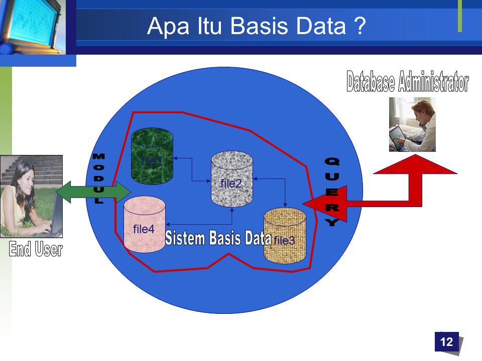 Apa Itu Basis Data ? file1 file2 file3 file4 12