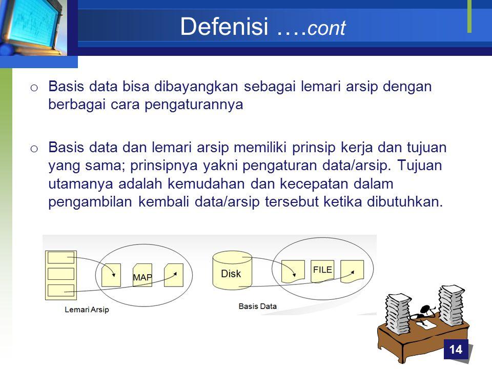 Defenisi …. cont o Basis data bisa dibayangkan sebagai lemari arsip dengan berbagai cara pengaturannya o Basis data dan lemari arsip memiliki prinsip