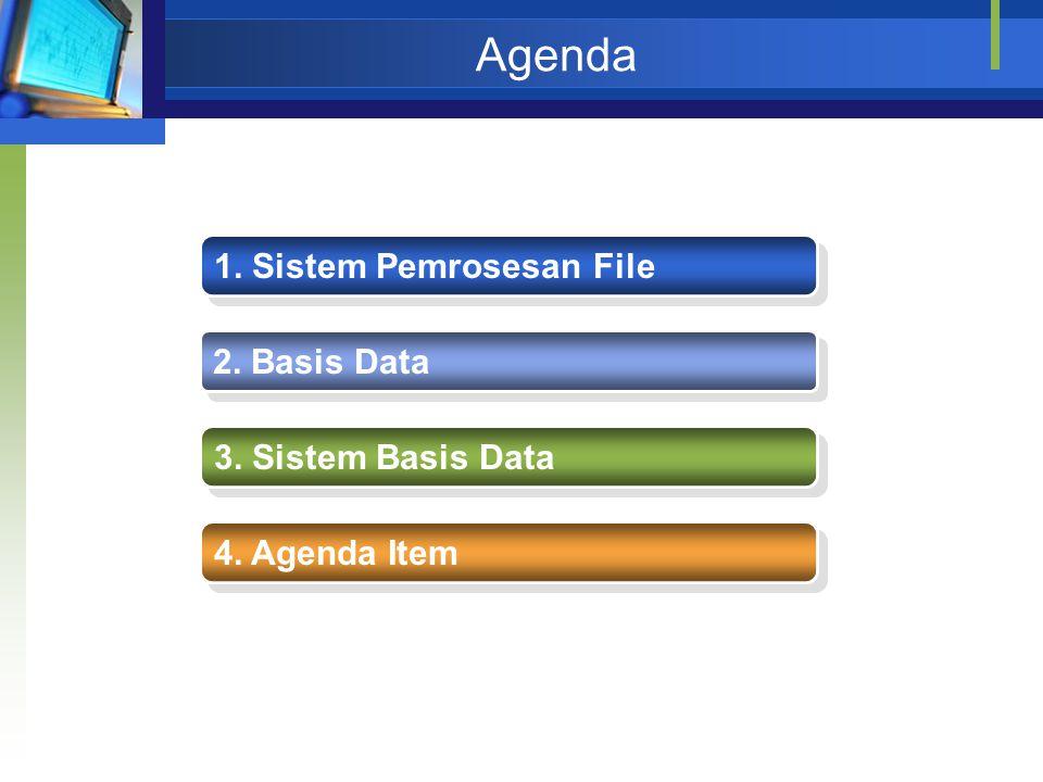 Agenda 1. Sistem Pemrosesan File 2. Basis Data 3. Sistem Basis Data 4. Agenda Item