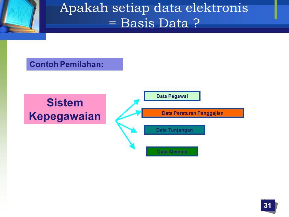 Apakah setiap data elektronis = Basis Data ? Contoh Pemilahan: Sistem Kepegawaian Data Pegawai Data Peraturan Penggajian Data Tunjangan Data Absensi 3