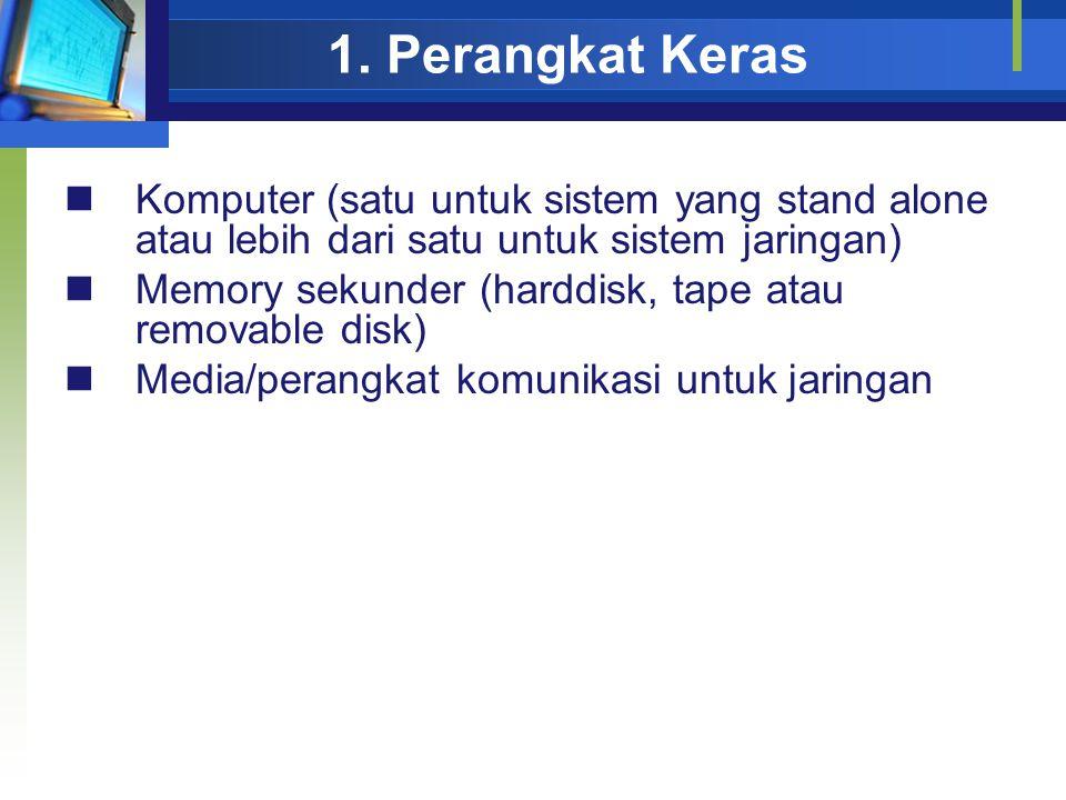 1. Perangkat Keras Komputer (satu untuk sistem yang stand alone atau lebih dari satu untuk sistem jaringan) Memory sekunder (harddisk, tape atau remov