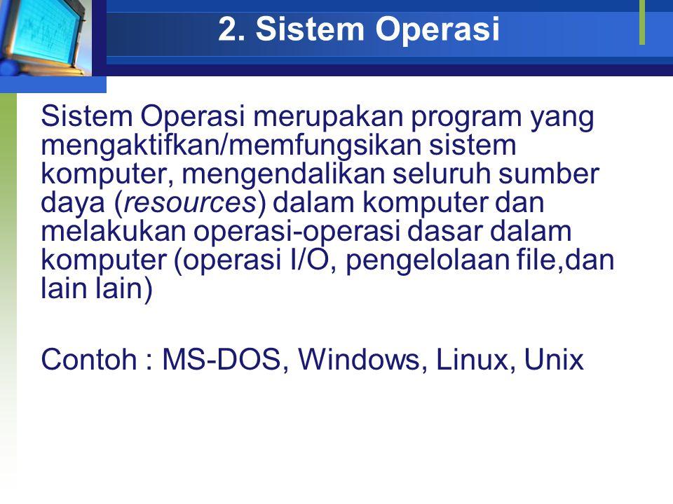 2. Sistem Operasi Sistem Operasi merupakan program yang mengaktifkan/memfungsikan sistem komputer, mengendalikan seluruh sumber daya (resources) dalam