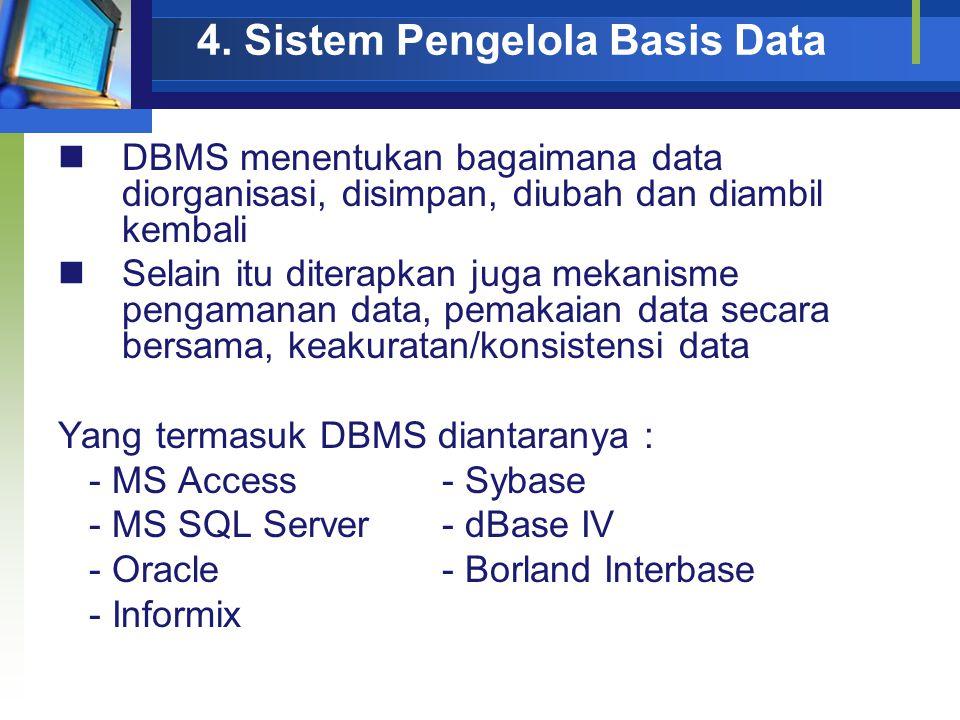 4. Sistem Pengelola Basis Data DBMS menentukan bagaimana data diorganisasi, disimpan, diubah dan diambil kembali Selain itu diterapkan juga mekanisme