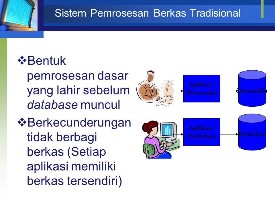  Bentuk pemrosesan dasar yang lahir sebelum database muncul  Berkecunderungan tidak berbagi berkas (Setiap aplikasi memiliki berkas tersendiri) Apli